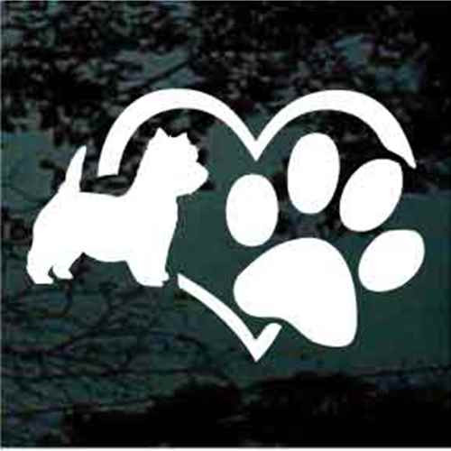 West Highland Terrier Heart Paw Decals