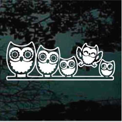 Cute Owl Family Window Decals