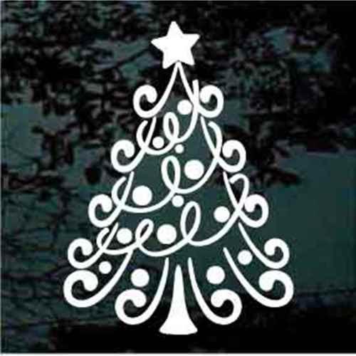 Whimsical Christmas Tree Window Decal