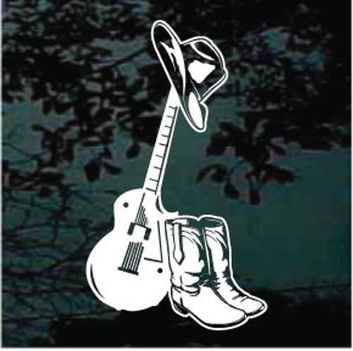 Cowboy Guitar Window Decals