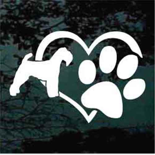 Welsh Terrier Heart Paw Window Decal