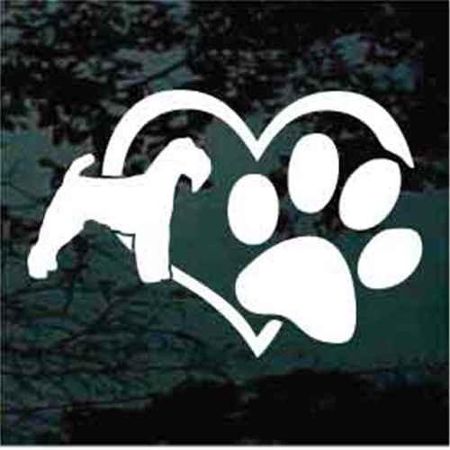 Welsh Terrier Heart Paw Window Decals