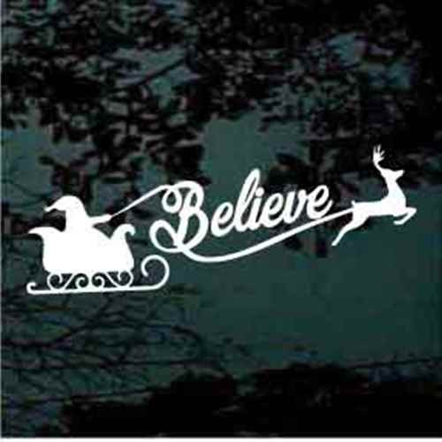 Believe Santa Reindeer Sleigh Window Decal