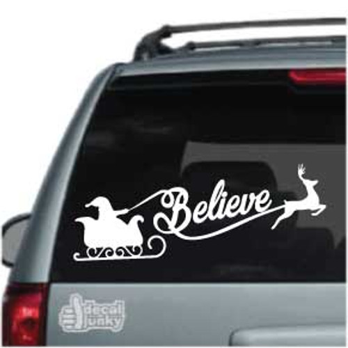 Believe Santa Reindeer Sleigh Car Decal
