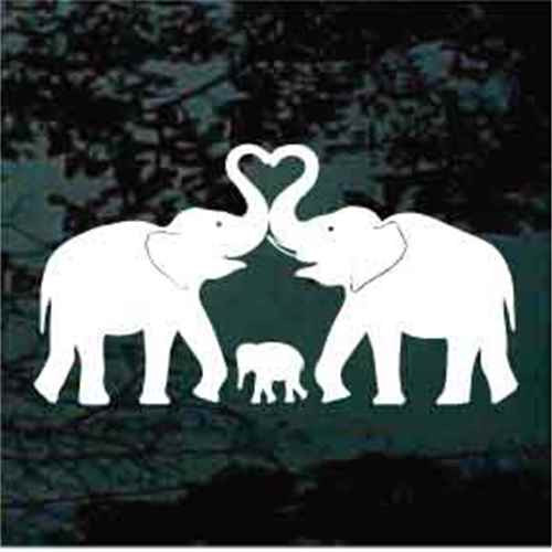 Elephant Family Heart Window Decals