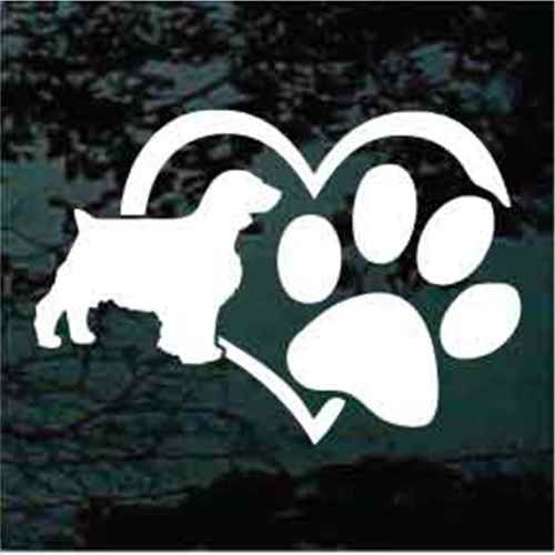 Welsh Springer Spaniel Heart Paw Decals