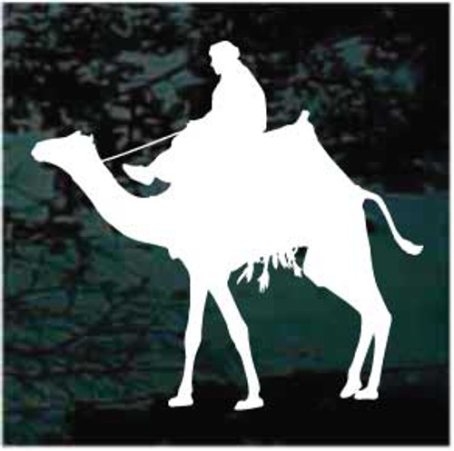 Man Riding Camel Window Decals