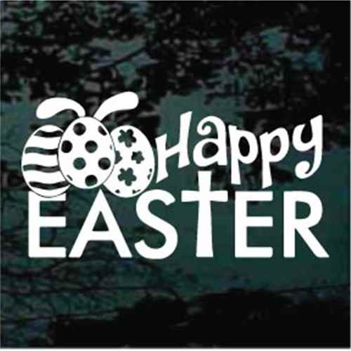 Happy Easter With Easter Eggs Decals