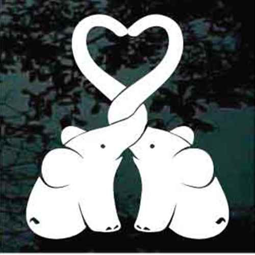 Baby Elephants Heart Window Decals