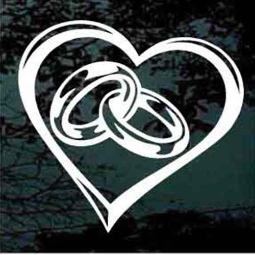 Wedding Rings In Heart Window Decals