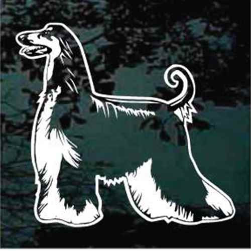 Standing Afghan Hound Window Decal