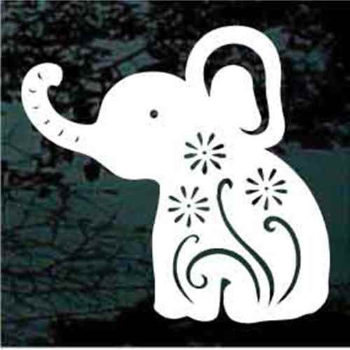 Decorative Elephant With Flowers Window Decals