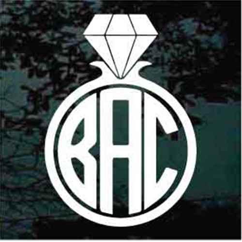 Diamond Ring Monogram Window Decals