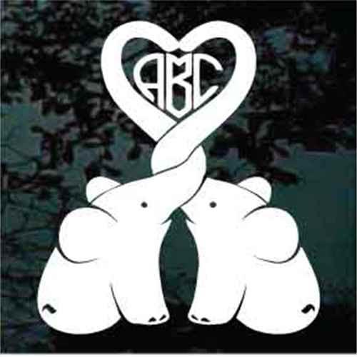 Baby Elephants Heart Monogram Window Decals
