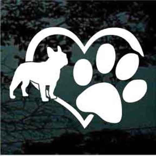 French Bulldog Heart Paw Window Decals