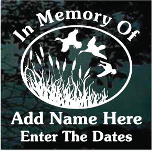 Duck Hunting Memorial Window Decals