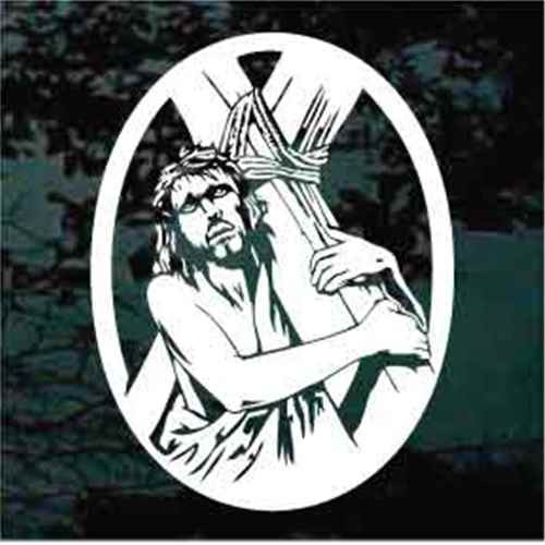 Jesus Carrying The Cross Car Window Decals