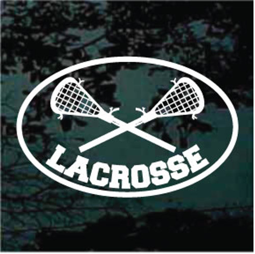 Lacrosse Sticks Crossed Oval 02 Decals