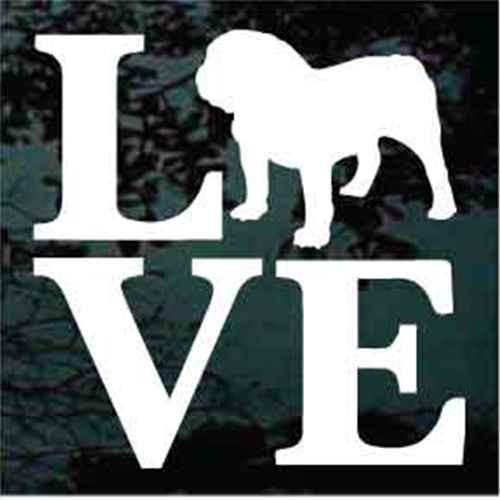 English Bulldog Love Window Decal