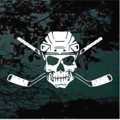 Custom Skull With Crossed Hockey Sticks Window Decals