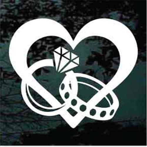 Heart With Interlocking Wedding Rings Window Decals