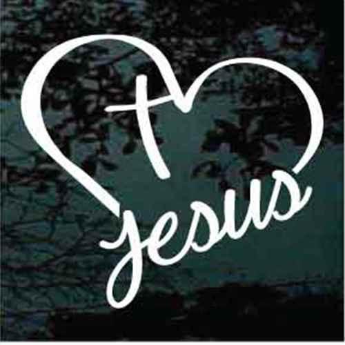 Jesus Heart Cross Christian Decals