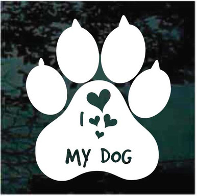 dog paw shaped heart vinyl car sticker decal I Love my Akita Inu