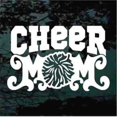 Cheer Pom Car Decal Window Vinyl Sticker Cheerleading Cheerleader Mom Family Bow
