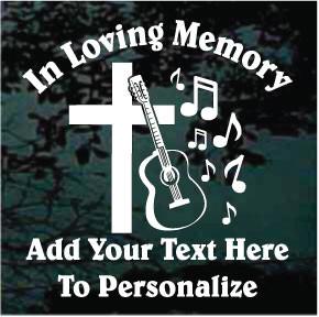 Cross With Guitar Memorial Decals Amp Window Stickers