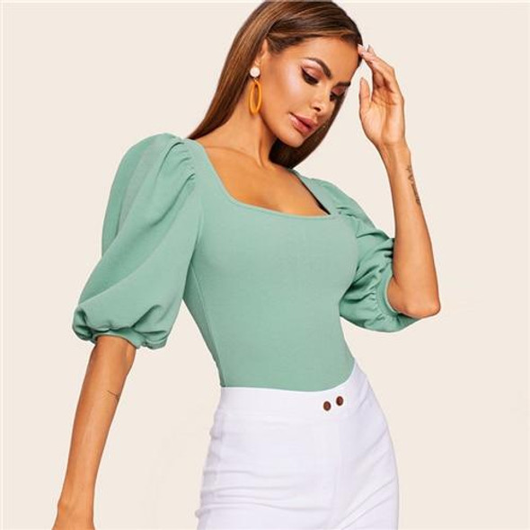 Turquoise Puff Sleeve T-shirt Tops