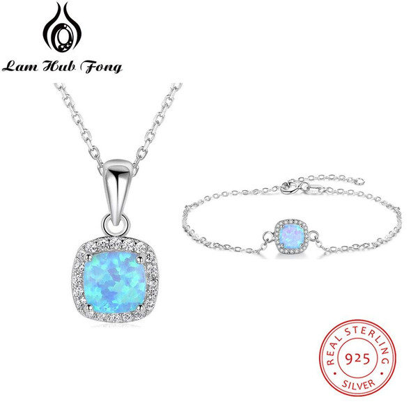 Jewelry Sets for Women 925 Sterling Silver Square Blue Opal Necklace Bracelet Cubic Zirconia Wedding Jewelry Sets (Lam Hub Fong)