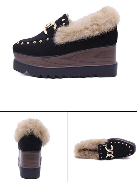 Wedge Wedges Women Fluffy Shoes