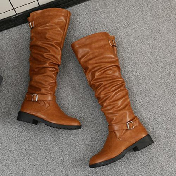 Women's flat knee high motorcycle boots vintage slouch boots