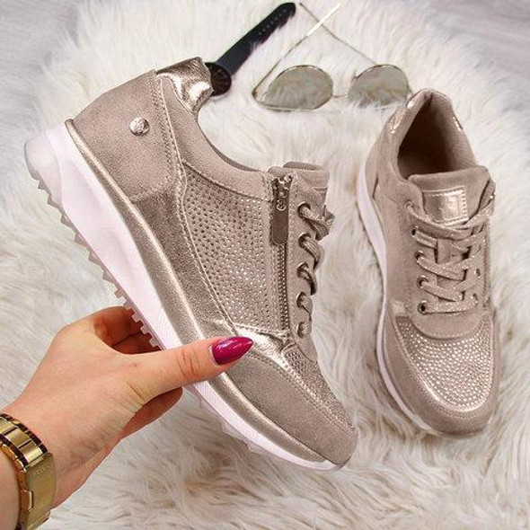 Women Wedge Comfortable Shoes Lace Up Sneakers