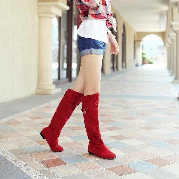 Knee high boots with buckles