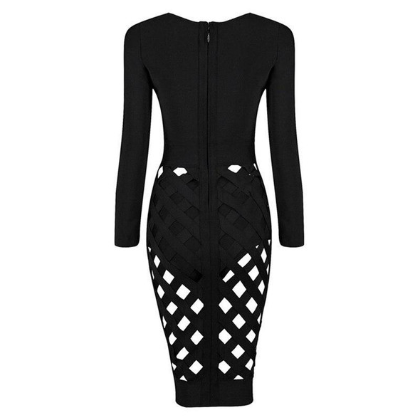 Dresses women fashion hollow out bandage long sleeve sexy v neck celebrity elegant party club bodycon rayon
