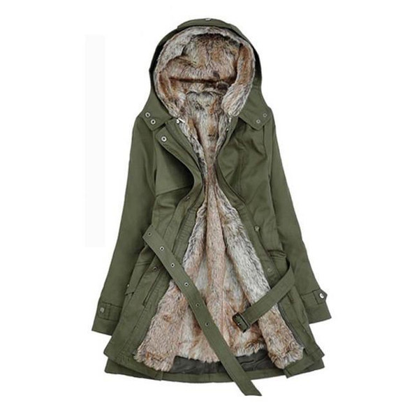 New Winter Fashion Women Thick Cotton Blended Overcoat Ladies Winter Hooded Collar Long Sleeve Jacket Outwear Wadded Coat YF91