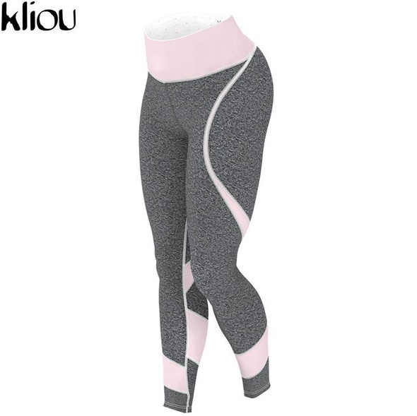 Kliou 2017 New Fashion Leggings Women Fitness Pink Patchwork Printed Workout Skinny Trousers Slim Casual Pants Bottoms