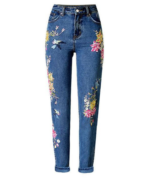 Imayio Flower embroidery jeans women Vintage Ripped pants Pockets straight jeans female bottom Plus size women Denim trousers