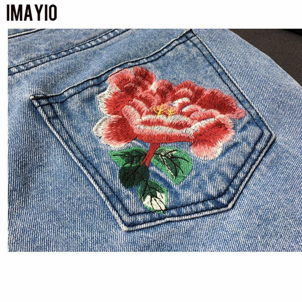 Imayio Flower embroidery jeans female Vintage casual pants autumn winter Pockets straight jeans women bottom Plus size