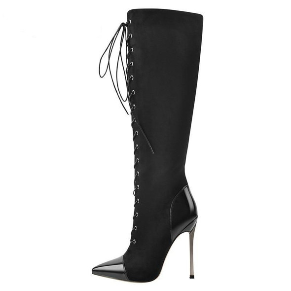 Black Over The Knee Lace-Up Boot