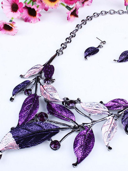 Casual A Suit Of Leaf Necklace And Earring