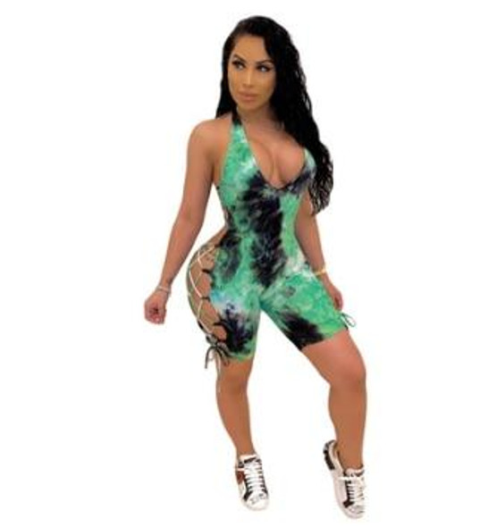 Tie Dye Printing Bandage Playsuits Halter Bodycon Jumpsuits Shorts Ribbons Lace Up Backless Bodysuit
