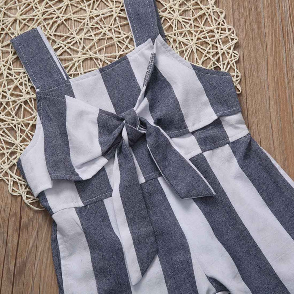 Gray Striped Bow Jumpsuit