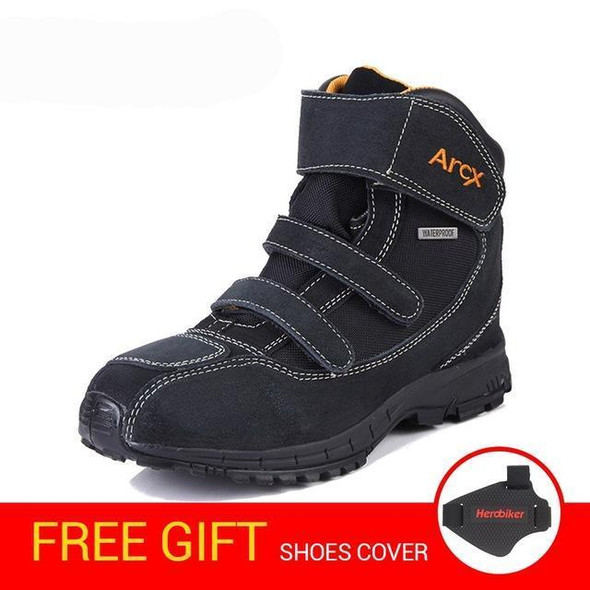 Motorcycle boots men shoes genuine cow suede leather biker chopper