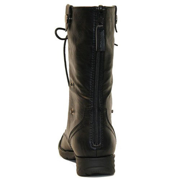 DY-B1307 Womens Mid-Calf Combat boots w/ Foldable Lace Up Shaft
