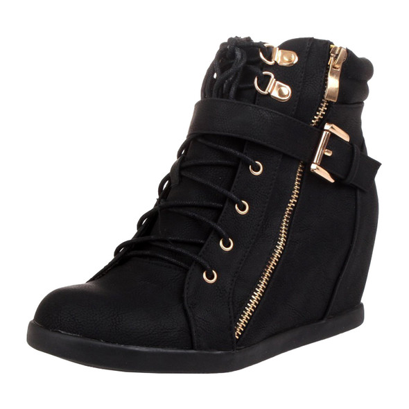 Peter-1 Lace Up High Top Wedge Sneakers