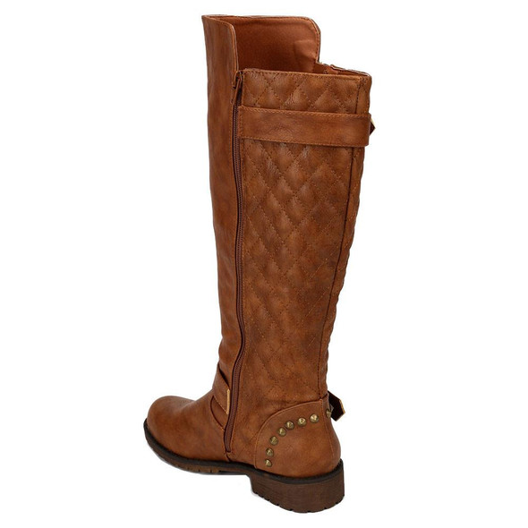 Vivienne-01 Quilted Studded Buckle Riding Motorcycle Boots