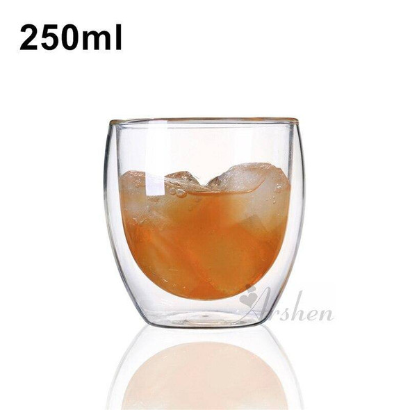 Arshen 80/250/350/450/650 ML Double Wall Shot Glass Clear Handmade Heat Resistant Tea Drink Cups Healthy Drink Mug Coffee Cup