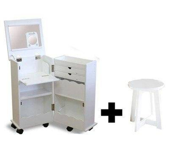 White Or Wooden Look Mini Dressing Table Set Bedroom Or Bathroom Small Folding Clamshell Mobile Makeup Cabinet Table